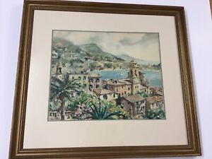 Listed French Artist Georges Chappuis Coastal Village Watercolor