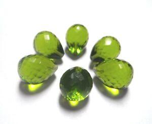 Peridot Lab Quartz Faceted Tear Drops Beads Half Drill 10x13mm 6Pcs #ZZ-100
