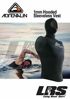 Adrenalin 2mm Neoprene Hooded Vest Sleeveless Wetsuit Top Wet Suit With Hood