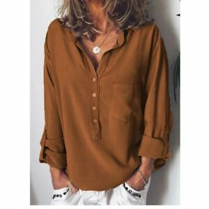 Ladies-Blouse-Tops-Solid-T-shirt-Long-Sleeve-Shirt-Loose-Casual-Fashion-Women-039-s