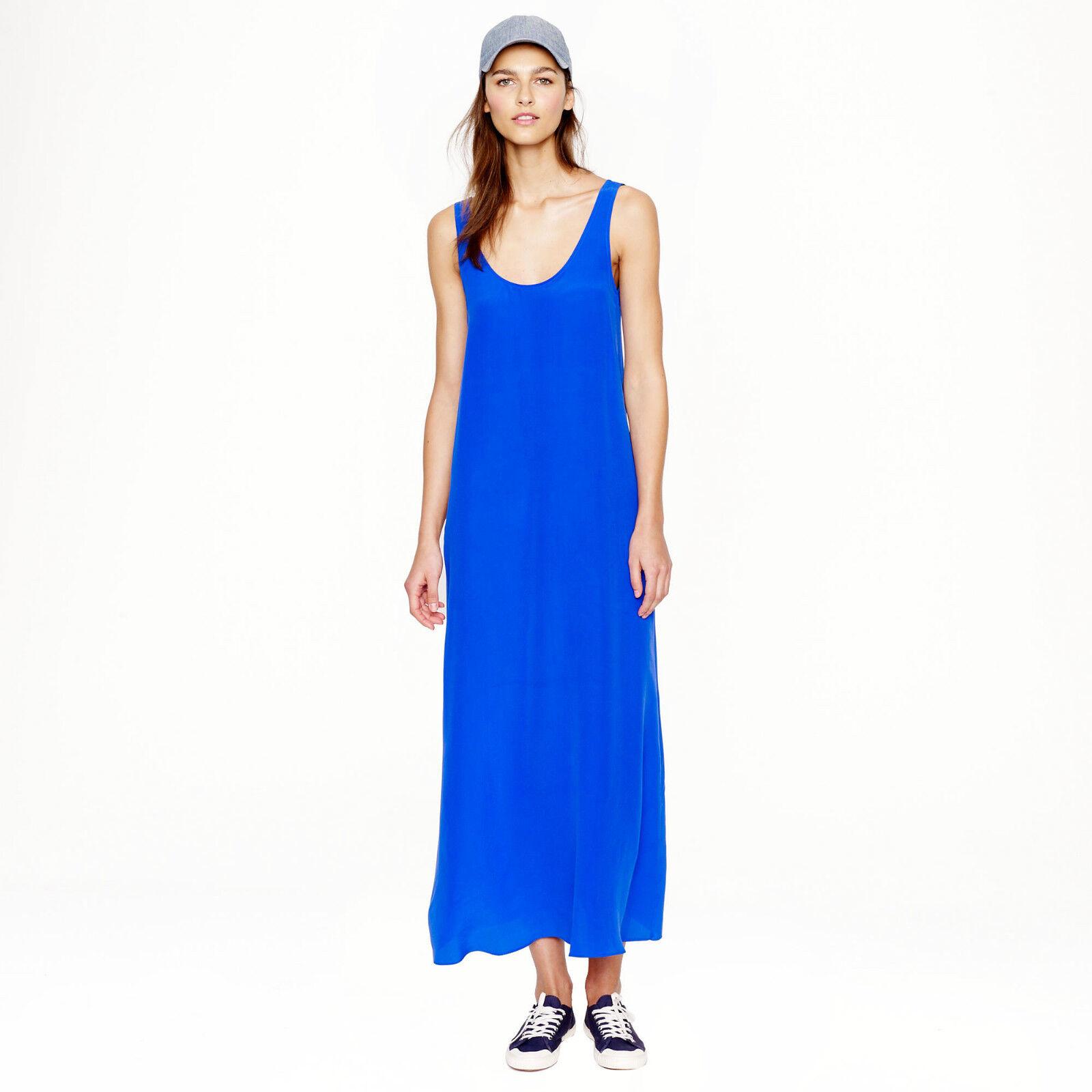 Nuevo Con Etiquetas  300 Diseñador J Crew Pura  Seda Crepe Maxi Vestido-francés de cobalto Papaya S
