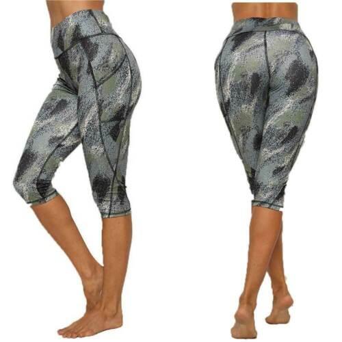 Womens Yoga Gym Anti-Cellulite Compression Leggings Pockets Fitness Sport Pants