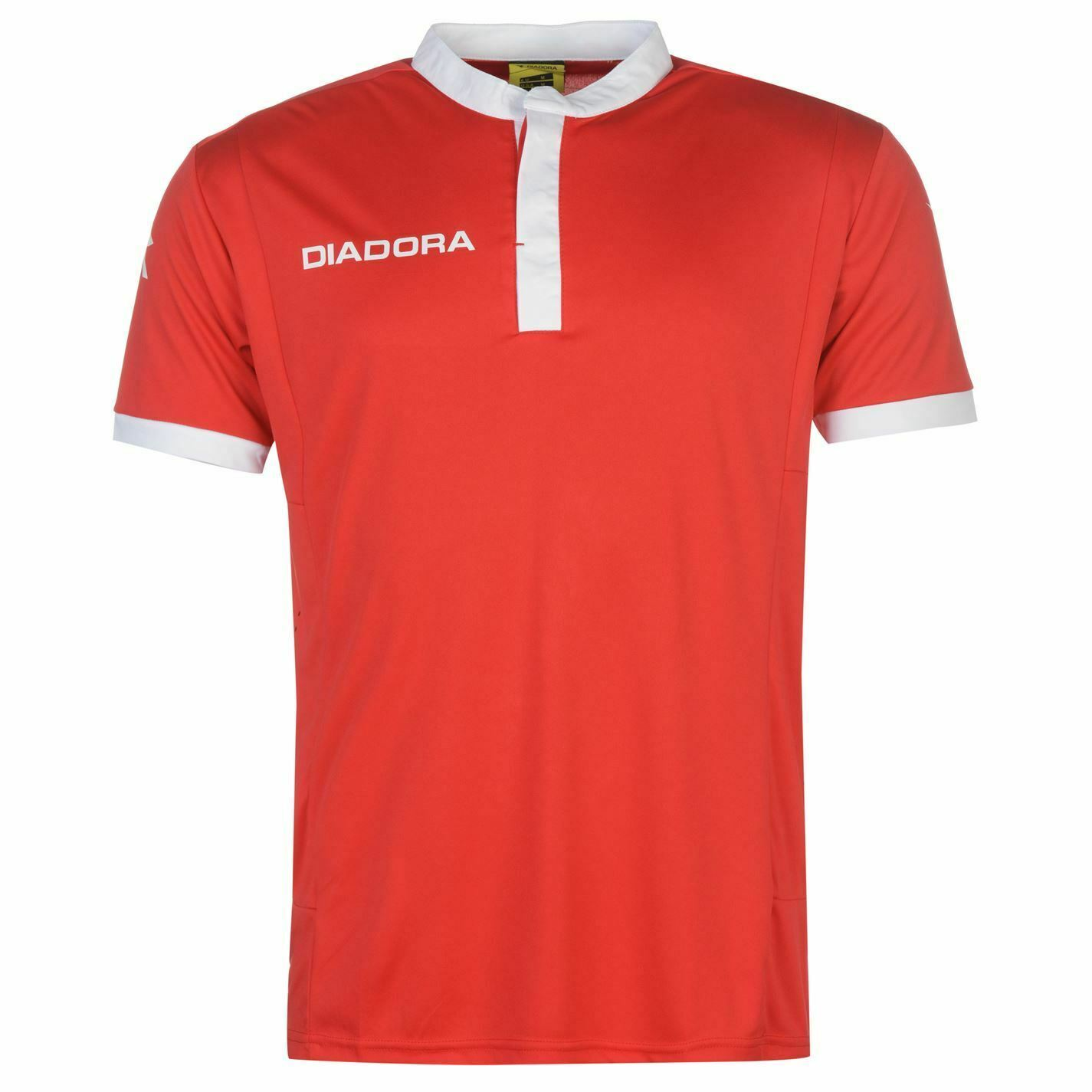 Diadora Fresno Training T-Shirt Mens Red White Football Soccer Top Tee Shirt