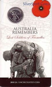 2010-20c-AUSTRALIA-REMEMBERS-LOST-SOLDIERS-OF-FROMELLES-Coin-on-Card