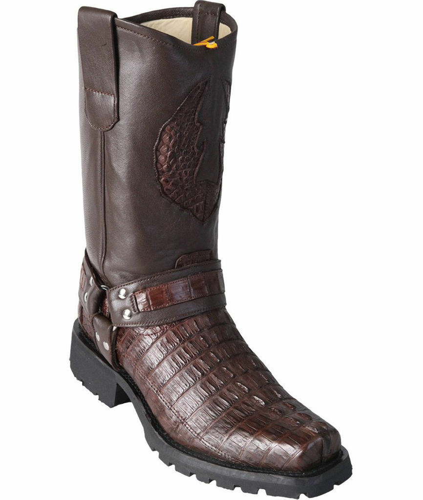 Los Altos BROWN Caiman Crocodile Tail Motorcycle Stivali Square Toe Biker D