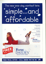 """Focus Dailies """"Simple And Affordable"""" 1998 Magazine Advert #5388"""