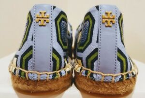 d884614e3f5 New Tory Burch CECILY Embellished Flat Espadrilles Lt Chambray Blue ...
