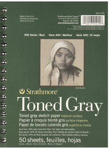 Strathmore Drawing 400 Series Toned Gray Sketch Pad 5.5x8.5 50 Sheets
