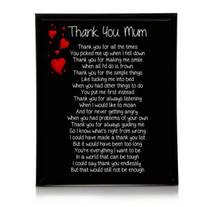 Details Zu Thank You Mum Poem 10x8 Picture With Optional Frame Birthday Mothers Gift P25