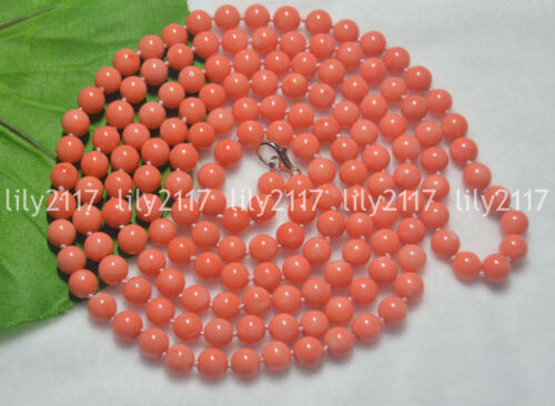 """Natural 7-8mm Genuine Pink Coral Gemstone Round Beads Jewelry Necklaces 28-48/"""""""