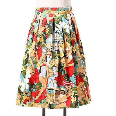 Victorian 50s Vintage Polka Dots Floral Swing Pinup Midi SKIRT Dress