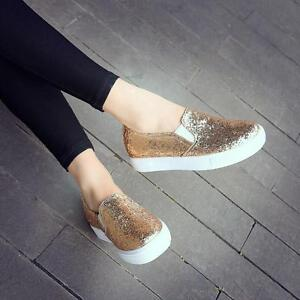 5735a3bf30ff New Womens Bling Bling Flats Slip On Fashion Sneakers Shinny Loafers ...
