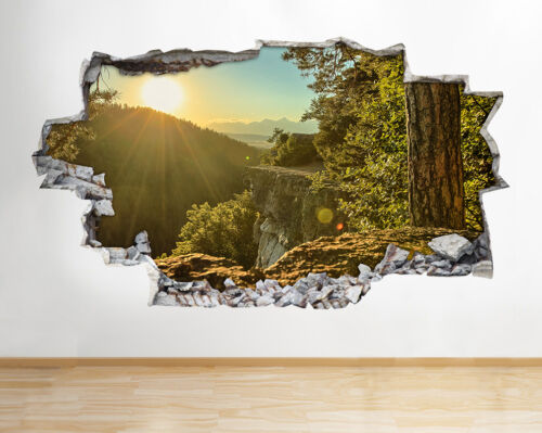 H949 Mountains Forest Sunset Blue Smashed Wall Decal 3D Art Stickers Vinyl Room