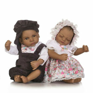 Realistic-Handmade-Girl-Boy-Baby-Twins-11-034-Silicone-Reborn-Black-Dolls-Xmas-Gift
