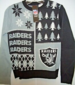 buy popular 054f6 bec45 Details about NFL Oakland Raiders Busy Block Ugly Sweater Size Youth Large  by FOCO