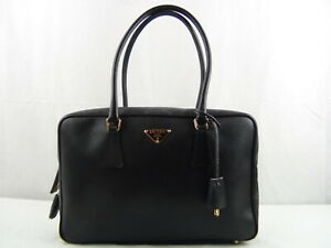 e0d290fbc5b0 Image is loading US-seller-Authentic-PRADA-BLACK-SAFFIANO-HAND-BAG-