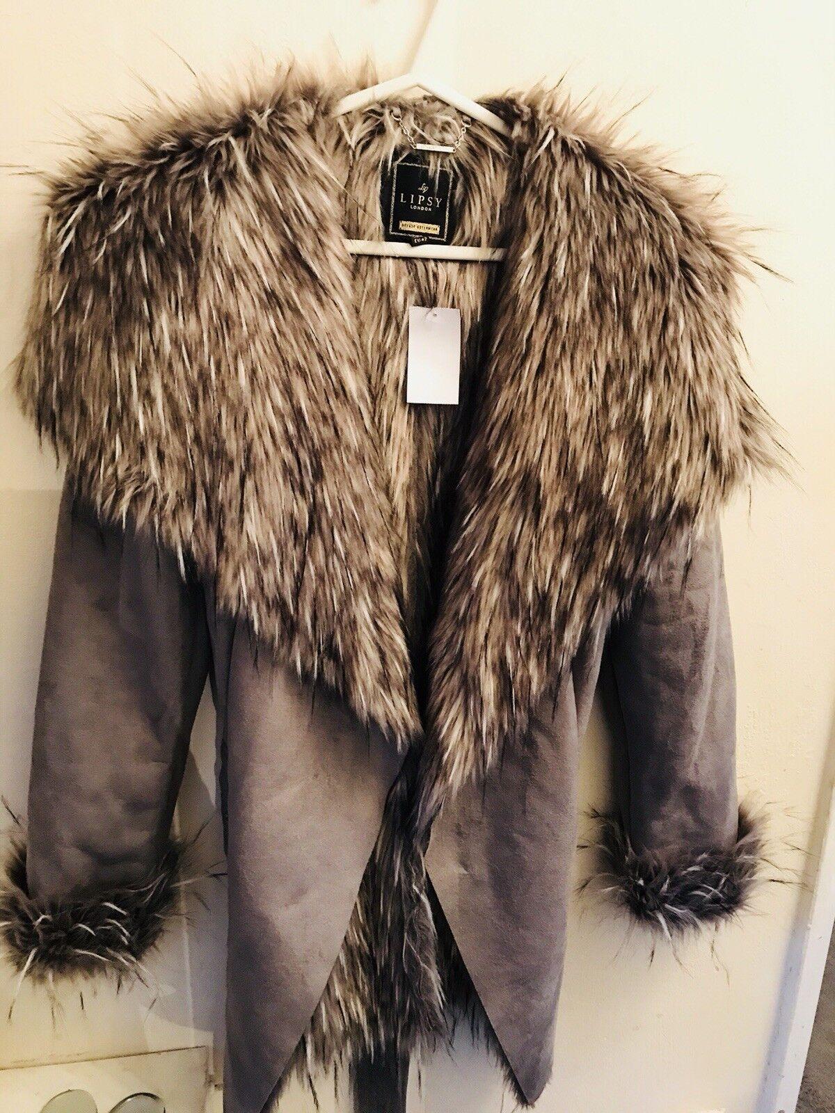 Unique Lipsy Grey Fur Winter Coat BRAND NEW Size Medium 14