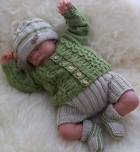 Baby-Knitting-Pattern-TO-KNIT-Boys-Reborn-Dolls-Cardigan-Trousers-Hat-amp-Booties