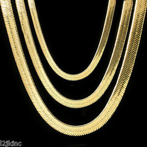 Men-amp-Lady-14K-Gold-Plated-4mm-14mm-Flat-20-034-Or-24-034-Herringbone-Necklace-Chain