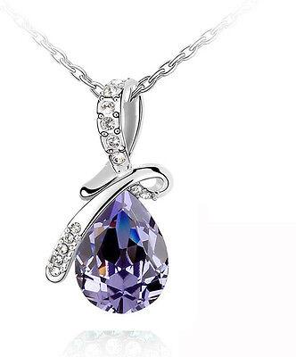 Elegant Silver & Amethyst Purple Angel Tear Crystal Necklaces Chains N171