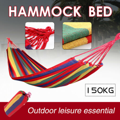 Portable Hammock Bed Outdoor Garden Hanging Swing Sturdy Rope Travel Camp Beach