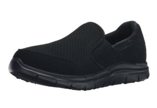 W Wide Width Black Skechers Shoe Women's Work Memory Foam Slip leather New