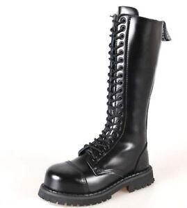 Grinders Hawk Combat  Boots  20 Hole Black Leather  Safety Steel Cap  Punk