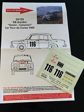 DECALS 1/24 RENAULT 8 GORDINI ORSINI RALLYE TOUR DE CORSE FRANCE 1965 RALLY WRC