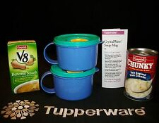 Tupperware 2 BLUE CrystalWave Soup Mug ~Hot Cereal~Lunch Box ~Microwave Vent