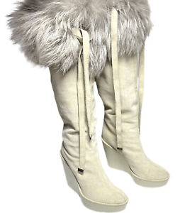 Dior-Authentic-Off-White-Genuine-Fur-Trim-Suede-Wedge-Knee-Boots-37-5-US-7-1450