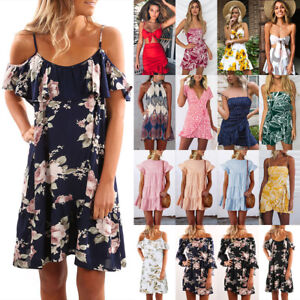 UK-Women-Holiday-Floral-Dresses-Ladies-Off-Shoulder-Summer-Beach-Dress-Size-6-20