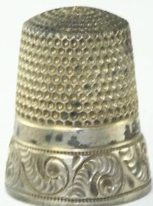 ANTIQUE SIMONS BROS STERLING SILVER FANCY THIMBLE SIZE 12