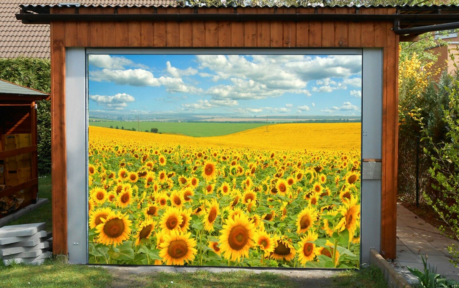 3D Gelb Flower9 Garage Door Murals Wall Print Decal Wall AJ WALLPAPER AU Carly