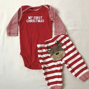 e218e4c68 Image is loading Carters-Baby-Infant-First-Christmas-Bodysuit-Pant-Set-