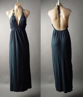 Dark Navy Blue Empire Waist Halter Modal Cotton Slip Long Maxi 217 mv Dress M L