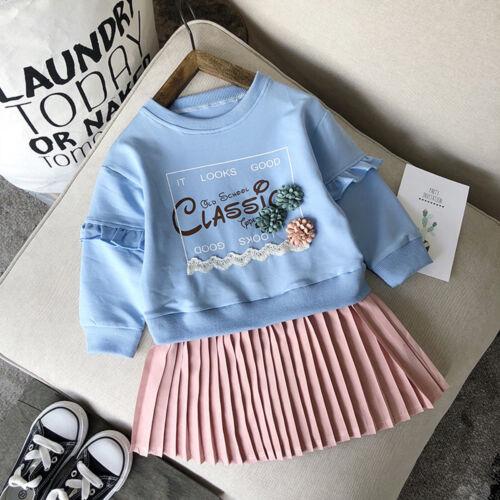 Sweatshirt Tops tenue de bambin Vêtements de bébé fille lettre robe plissée