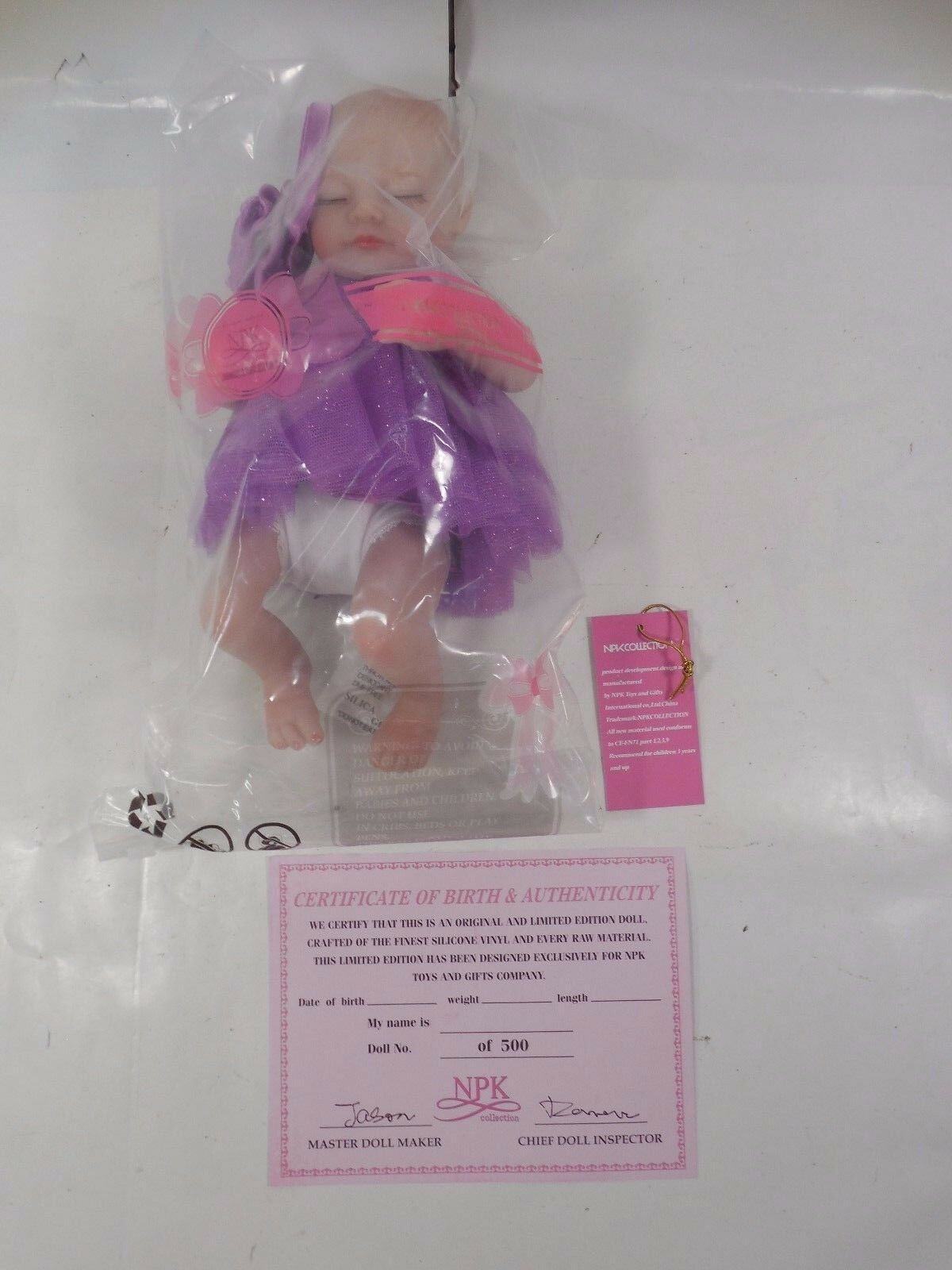 LIMITED EDITION NPK COLLECTION SLEEPING 11  DOLL IN PURPLE DRESS BRAND NEW  500