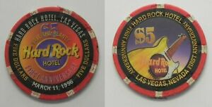 Hard Rock Las Vegas 1997 CHRISTMAS HOTEL $5 Casino Chip Mint//Uncirculated