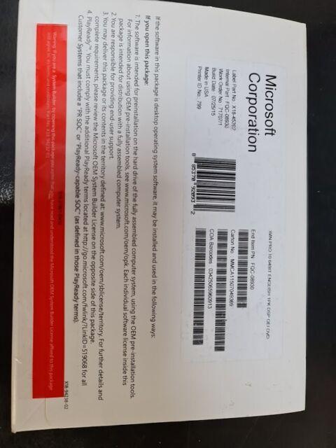 Microsoft Windows 10 Pro Professional 64Bit DVD . Fqc-08930