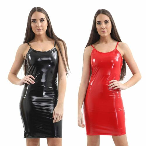 Women Clubwear sleeveless Pencil Dress Black PVC Vinyl Wet Look Outfit Bodycon