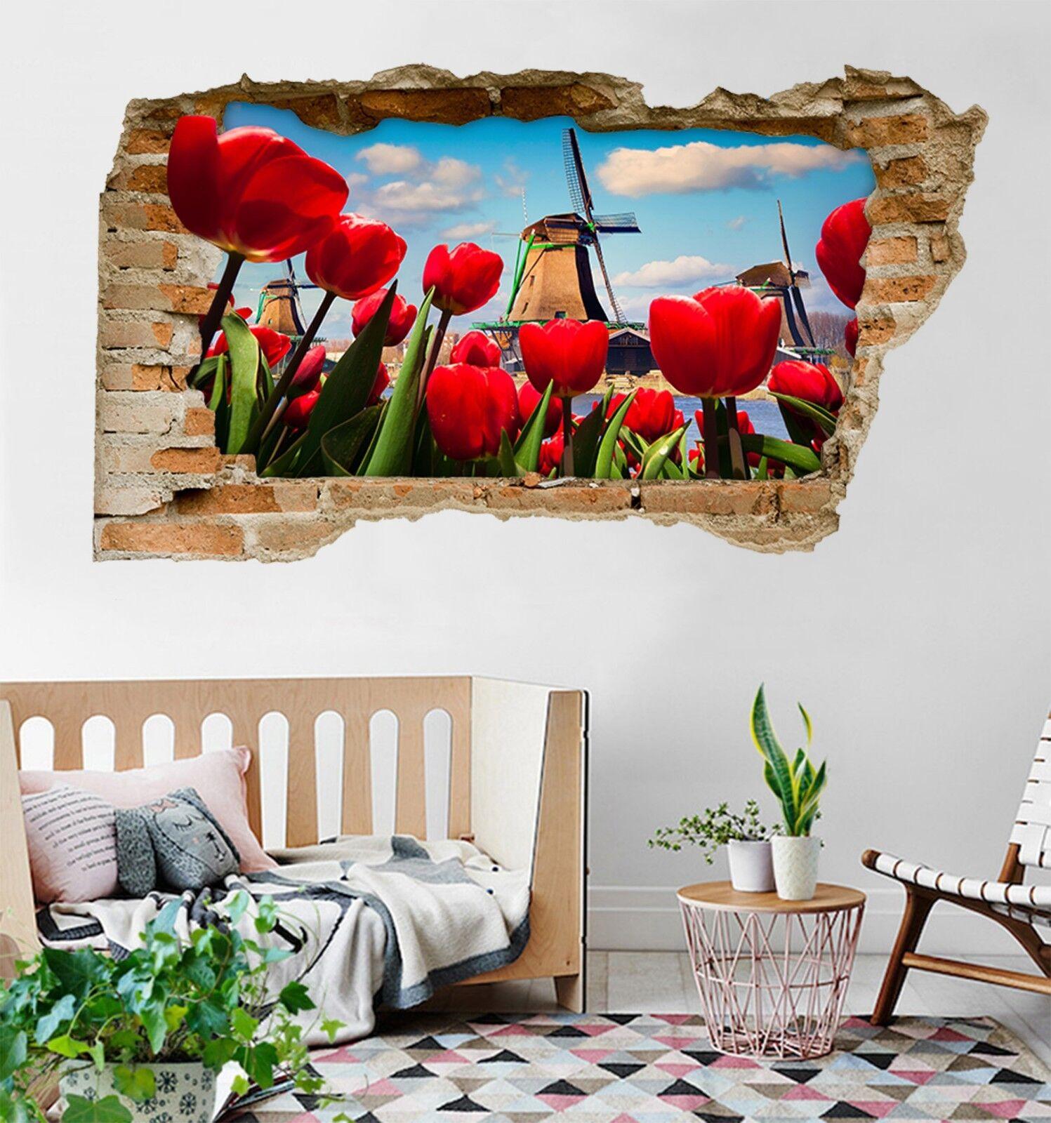 3D rede Tulpen 135 Mauer Murals Mauer Aufklebe Decal Durchbruch AJ WALLPAPER DE