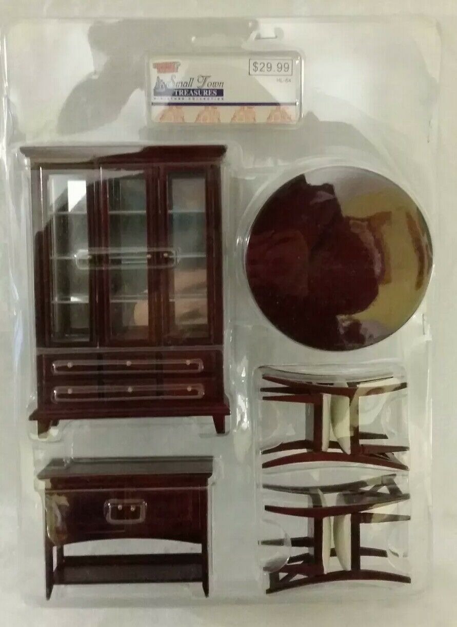 NOS NRFP Hobby Lobby Small Town Treasures Wood Dining Room Set Doll House NEW