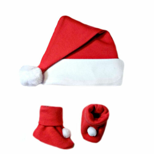 6 Preemie Red Unisex Baby Santa Hat and Booties Newborn up to 12 Months Sizes