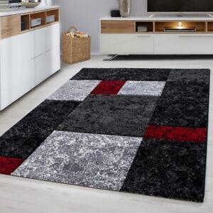 bab58ed9ba6 Modern Rugs Black Grey Silver Red Check Pattern Mat Geometric Living ...