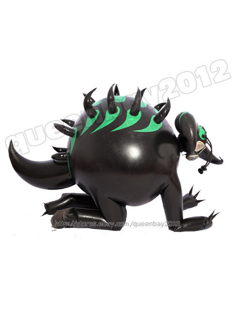 100% Latex Rubber Inflatable Beetle Catsuit Suit Hood Horn Costume Party Leotard