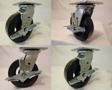 6 X 2 Swivel Casters Rubber Wheel On Steel Hub Brake 4 550lb Each Tool Box
