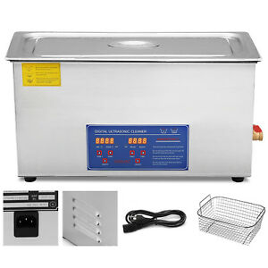 New-30L-Ultrasonic-Cleaner-Stainless-Steel-Industry-Heated-Heater-w-Timer