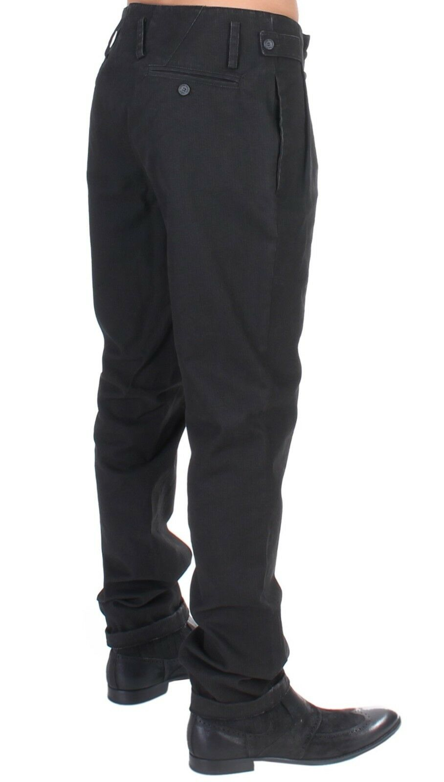 NUOVO COSTUME NATIONAL C E grigio a righe, in cotone pantaloni elasticizzati S.