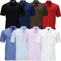 New Mens Short Sleeve Shirt Button Up Business Work Smart Formal Plain Dress Top
