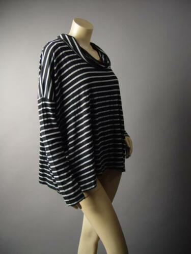 Gray Black Striped Cowl Neck Split Back Casual Basic Top Blouse 224 mv Shirt S M